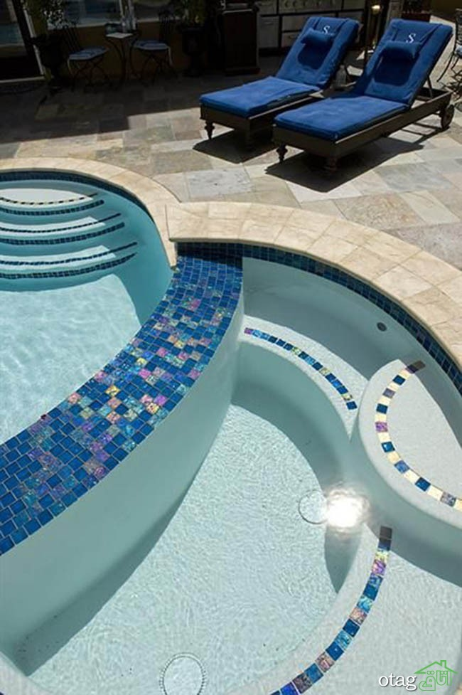 Lightstreams Peacock Blue Iridescdent Glass Pool Tiles