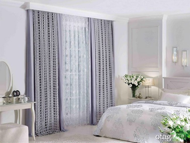 Best Bedroom Design Bright Purple Bedroom Curtain Ideas for Large Windows Finished in Grey Color in White Interior