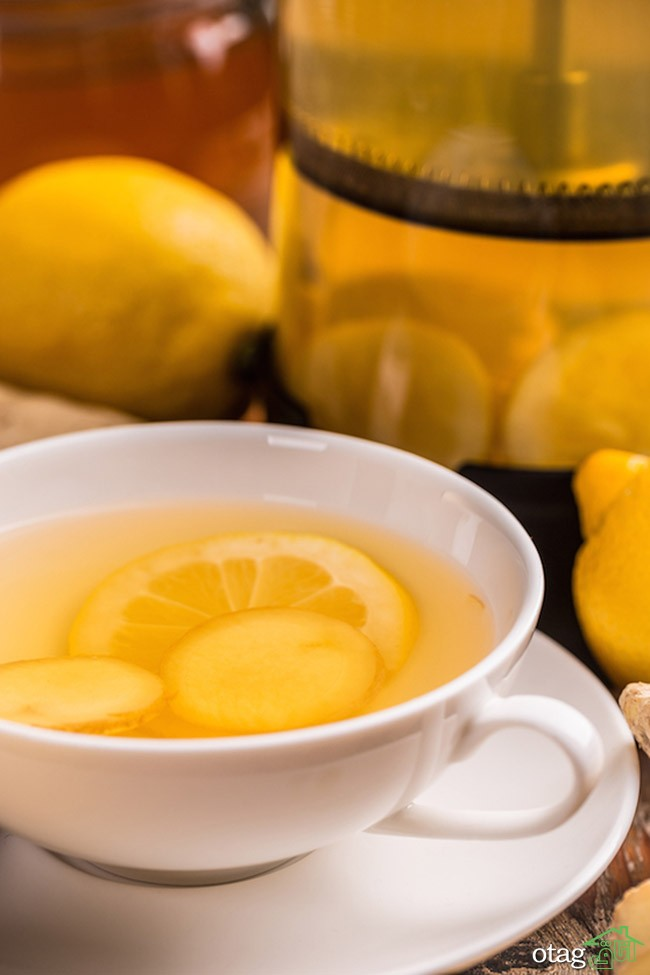 Close up of ginger tea with lemon