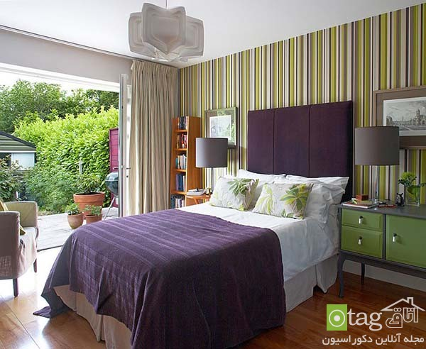 Contemporary-bedroom-designs-with-striped-accent-wall (10)