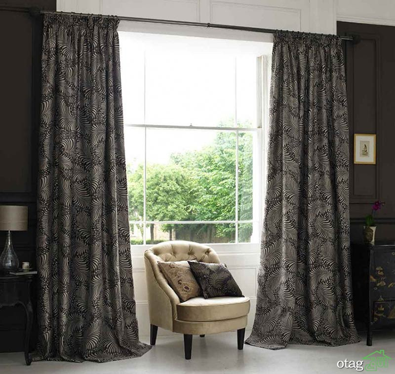 Delightful-Black-Curtain-for-Living-Room-Window-With-Decorative-Pattern
