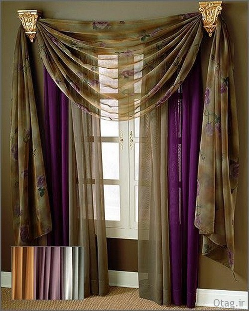 Modern Curtain Design Ideas in Brown Solor For Small Window Curtain And Drapery Ideas For Modern Living Room Windows مدل پرده پذیرایی جدید و شیک با سبک های سنتی و مدرن
