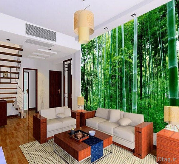 Natural green landscape wallpaper TV backdrop of modern living room sofa large green bamboo forest wallpaper طراحی دکوراسیون منزل با گیاه بامبو / تصاویر