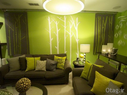 Warm and Calm Bamboo Tree Pictures in Modern Green Living Room Wallpaper 2012 Decorating Design Ideas طراحی دکوراسیون منزل با گیاه بامبو / تصاویر