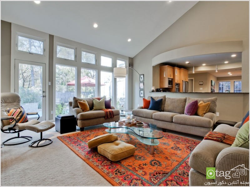 orange-carpet-for-living-room