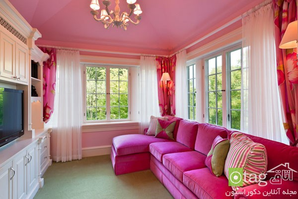 pink sofas and couch designs in living room 11 مدل های مخالف مبلمان صورتی رنگ در دکوراسیون اتاق نشیمن