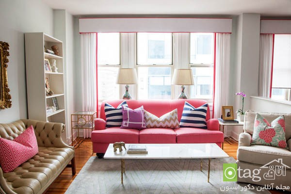 pink sofas and couch designs in living room 13 مدل های مخالف مبلمان صورتی رنگ در دکوراسیون اتاق نشیمن