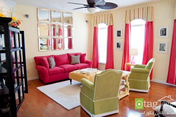 pink sofas and couch designs in living room 14 مدل های مخالف مبلمان صورتی رنگ در دکوراسیون اتاق نشیمن