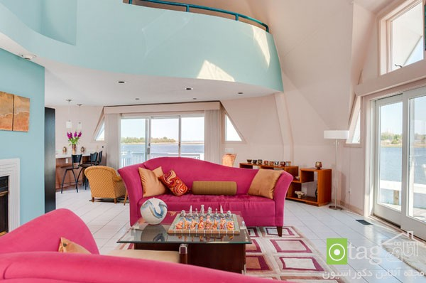 pink sofas and couch designs in living room 15 مدل های مخالف مبلمان صورتی رنگ در دکوراسیون اتاق نشیمن