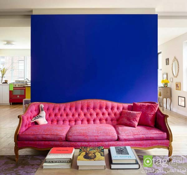pink sofas and couch designs in living room 16 مدل های مخالف مبلمان صورتی رنگ در دکوراسیون اتاق نشیمن