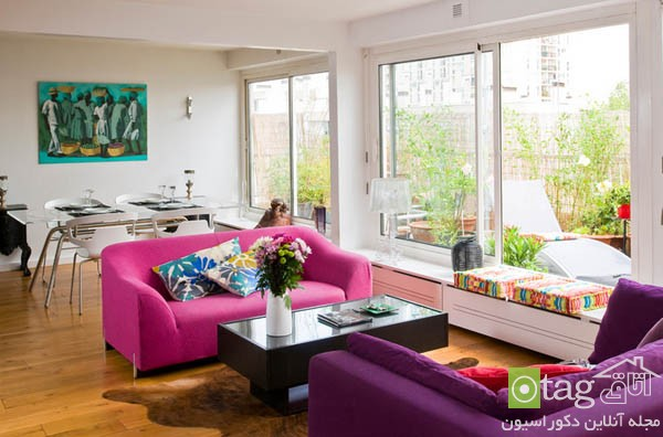 pink sofas and couch designs in living room 17 مدل های مخالف مبلمان صورتی رنگ در دکوراسیون اتاق نشیمن
