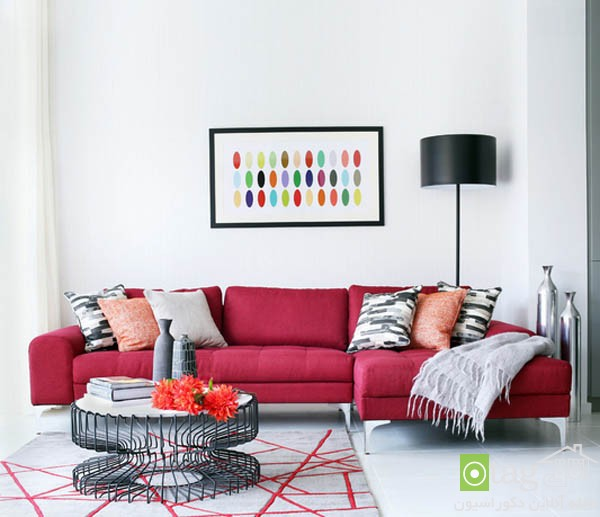 pink sofas and couch designs in living room 5 مدل های مخالف مبلمان صورتی رنگ در دکوراسیون اتاق نشیمن
