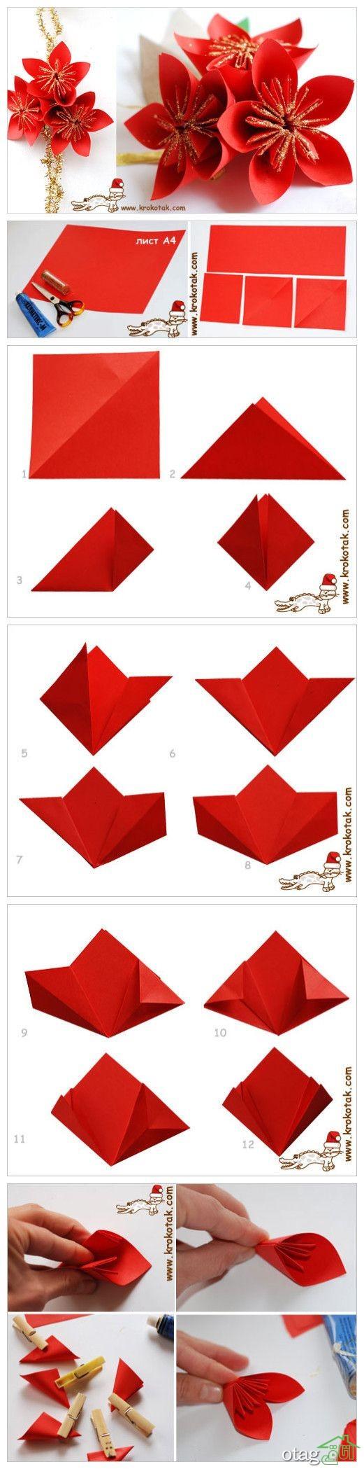 آموزش ساخت گل کاغذی (10)