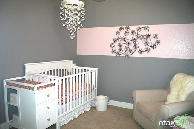 Awesome Pink And Grey Wall Painting Room With White Curtains And throughout Elegant grey Baby Nursery regarding The house - Design Decor