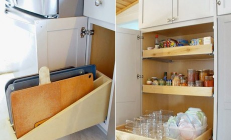 خلاقیت در چیدمان وسایل آشپزخانه با استفاده از کابینت جادار