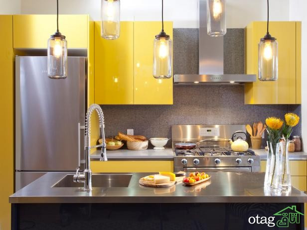 دکوراسیون آشپزخانه با کابینت زرد (1)