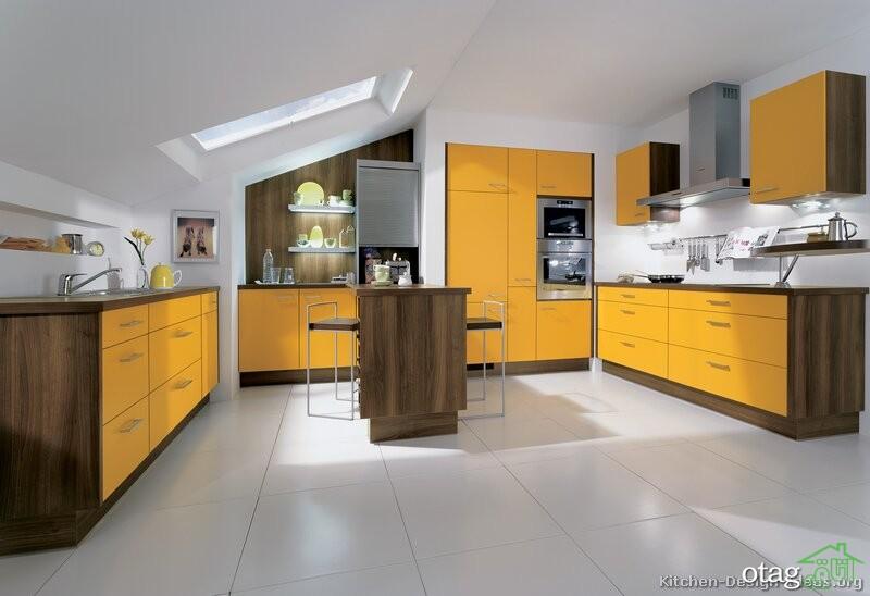 دکوراسیون آشپزخانه با کابینت زرد (10)