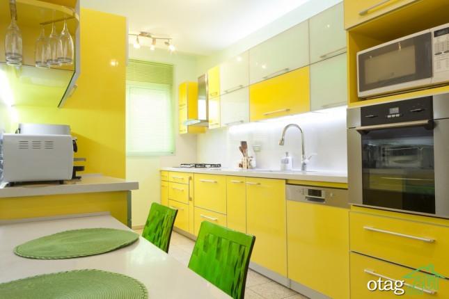 دکوراسیون آشپزخانه با کابینت زرد (2)