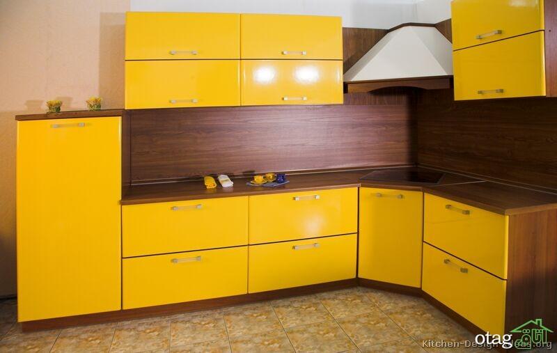 دکوراسیون آشپزخانه با کابینت زرد (3)