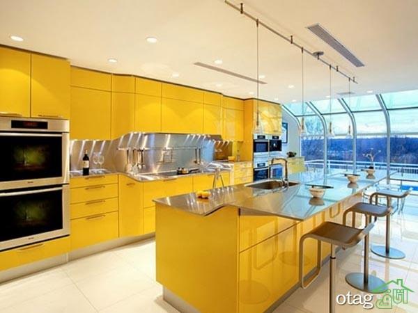 دکوراسیون آشپزخانه با کابینت زرد (4)