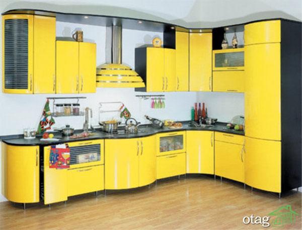 دکوراسیون آشپزخانه با کابینت زرد (5)