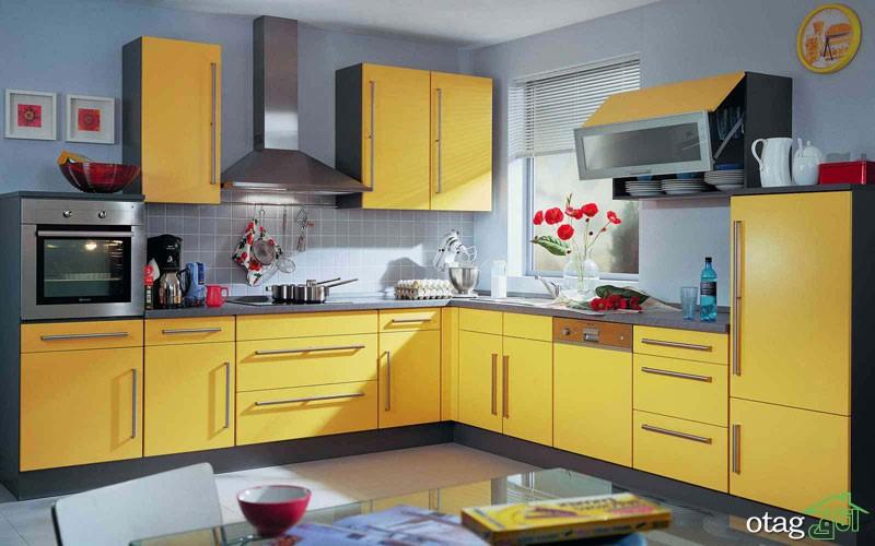 دکوراسیون آشپزخانه با کابینت زرد (6)