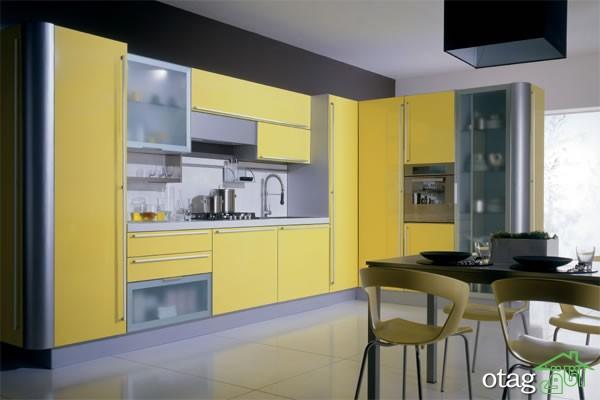 دکوراسیون آشپزخانه با کابینت زرد (7)