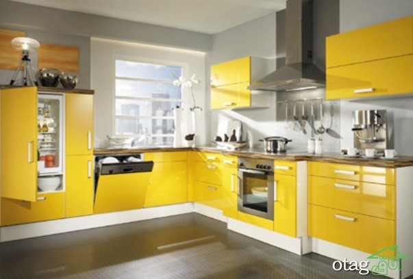 دکوراسیون آشپزخانه با کابینت زرد (8)