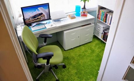 دکوراسیون اتاق کار در منزل با ست کامل قفسه و باکس دیواری
