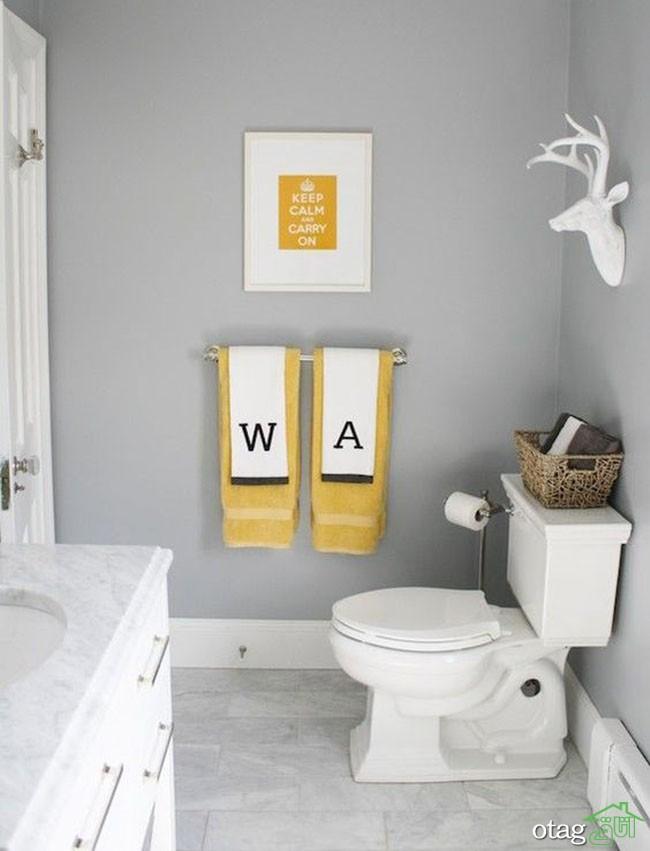 دکوراسیون زرد و خاکستری در حمام و سرویس بهداشتی بروز و جدید