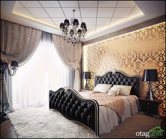 Extraordinary Combination of Black gold color bedroom interior design