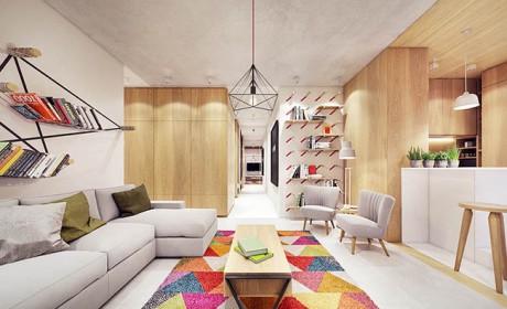 رنگ آمیزی داخل آپارتمان مدرن به شیوه ای شاد و انرژیک