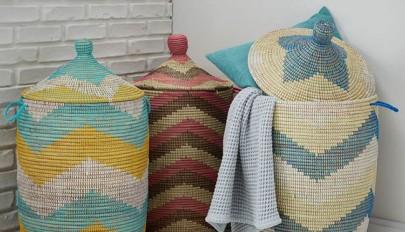 مدل سبد رخت چرک حصیری و پارچه ای در طرح های بسیار شیک و زیبا