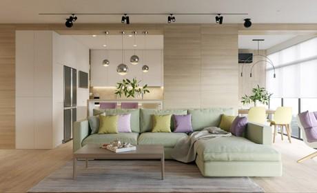 طراحی داخلی با چوب و رنگ های شاد در دکوراسیون خانه های مدرن