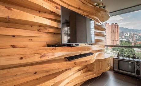 مدل های جدید طراحی دیوار با چوب در دکوراسیون اتاق نشیمن