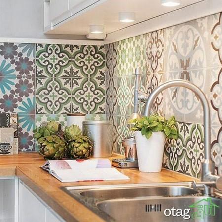 طراحی دیوار پشت ظرفشویی آشپزخانه زیبا (1)