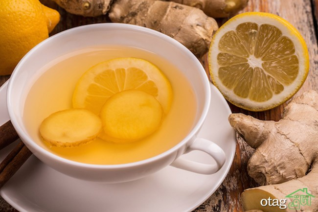 Ginger and lemon tea in white cup
