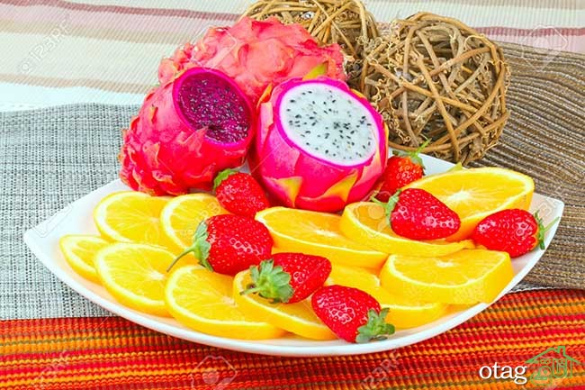 Exotic Fruit Dish with Dragon Fruit, pitahaya,strawberries and orange slices