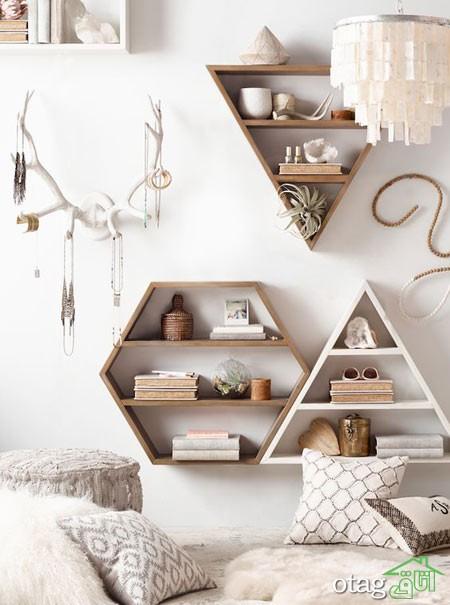 قفسه شلف چوبی اتاق نشیمن (10)