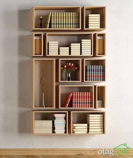 قفسه شلف چوبی اتاق نشیمن (15)