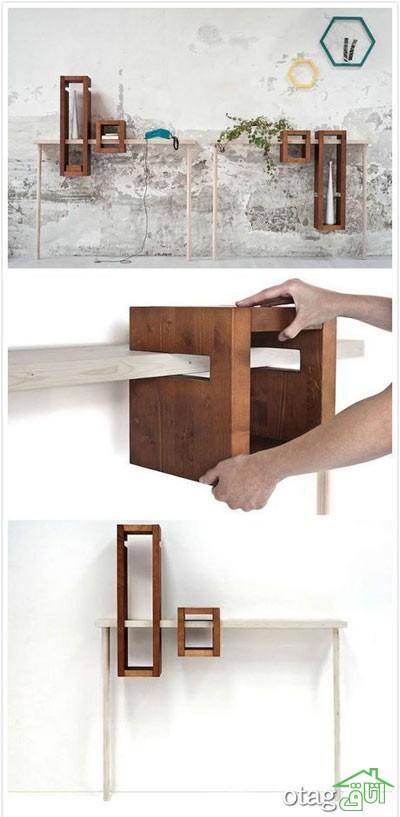 قفسه شلف چوبی اتاق نشیمن (8)
