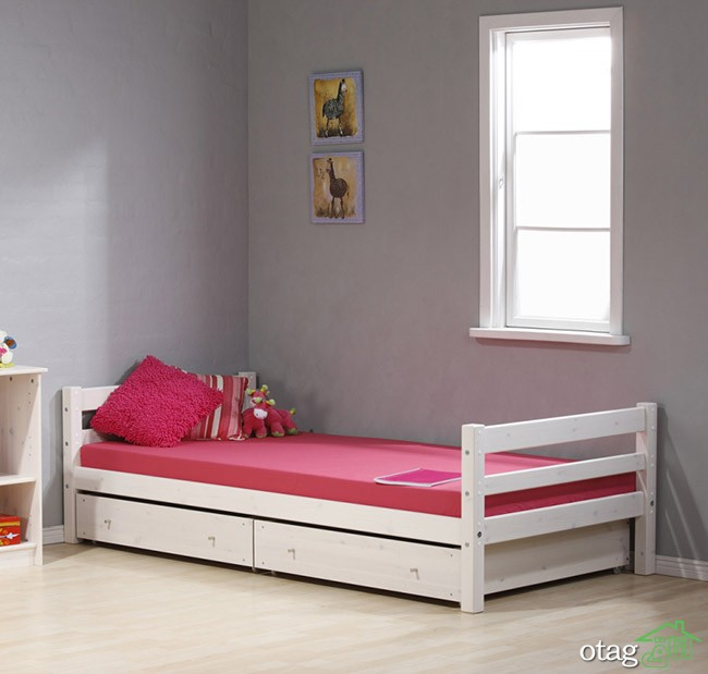 Pink Single Bed Designs for Girl