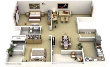چیدمان بهمراه نقشه آپارتمان دو خوابه بسیار شیک با طراحی مدرن