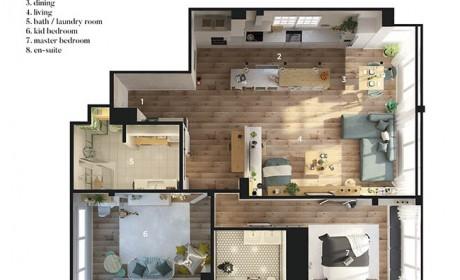 بررسی دکوراسیون داخلی و نقشه خانه 100 متری دو خوابه