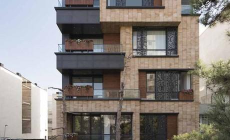نمای بیرونی آپارتمان امروزی و خلاقانه در شهر تهران