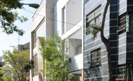 نمای بیرونی ساختمان سه طبقه بزرگمهر در مشهد + نمای داخلی