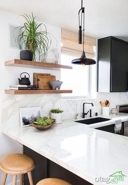 چیدمان آشپزخانه با شلف (2)