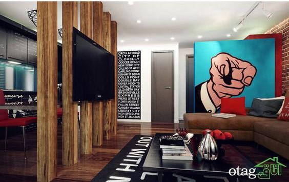 چیدمان دکوراسیون اتاق پذیرایی آپارتمان (2)