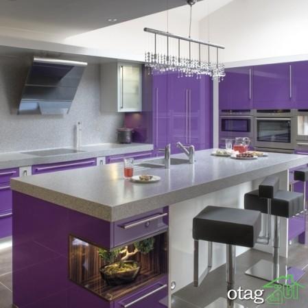 کابینت آشپزخانه بنفش رنگ شیک (1)