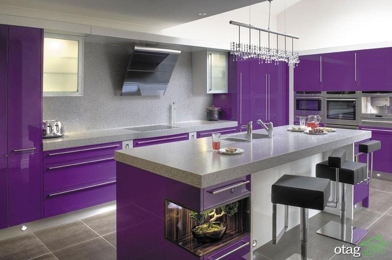 کابینت آشپزخانه بنفش رنگ شیک (10)